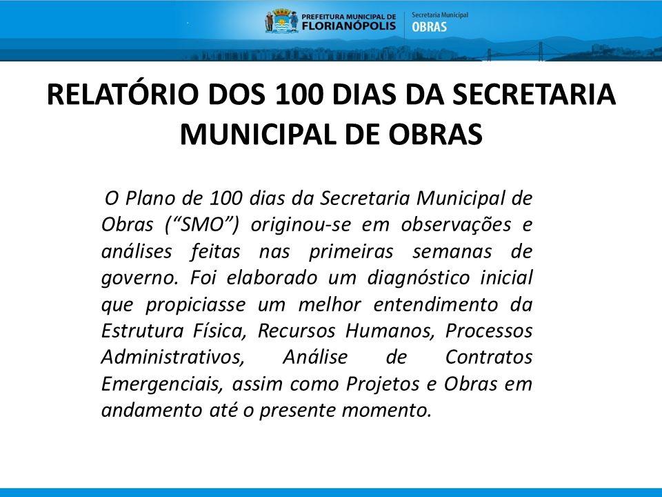 RELATÓRIO DOS 100 DIAS DA SECRETARIA MUNICIPAL DE OBRAS O Plano de 100 dias da Secretaria Municipal de Obras (SMO) originou-se em observações e anális