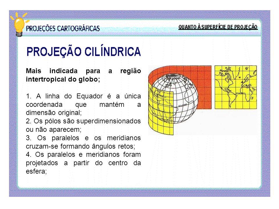 Mais indicada para a região intertropical do globo; 1. A linha do Equador é a única coordenada que mantém a dimensão original; 2. Os pólos são superdi