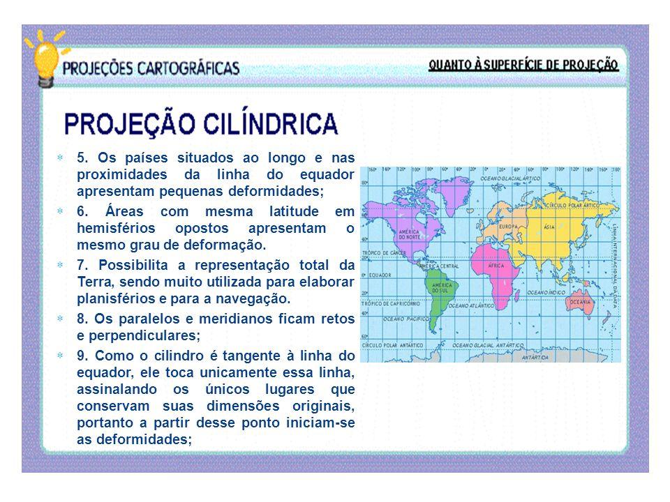 5. Os países situados ao longo e nas proximidades da linha do equador apresentam pequenas deformidades; 6. Áreas com mesma latitude em hemisférios opo