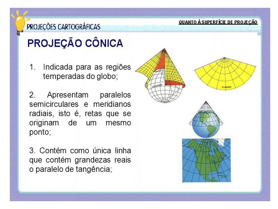 1.Indicada para as regiões temperadas do globo; 2. Apresentam paralelos semicirculares e meridianos radiais, isto é, retas que se originam de um mesmo