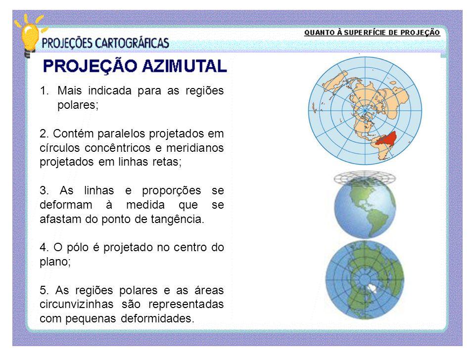 1.Mais indicada para as regiões polares; 2. Contém paralelos projetados em círculos concêntricos e meridianos projetados em linhas retas; 3. As linhas