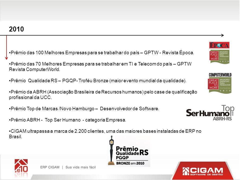 2010 Prêmio das 100 Melhores Empresas para se trabalhar do país – GPTW - Revista Época. Prêmio das 70 Melhores Empresas para se trabalhar em TI e Tele