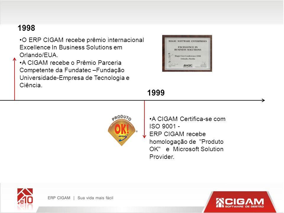 1998 1999 A CIGAM Certifica-se com ISO 9001 - ERP CIGAM recebe homologação de