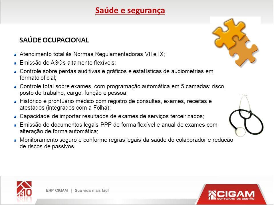SAÚDE OCUPACIONAL Atendimento total às Normas Regulamentadoras VII e IX; Emissão de ASOs altamente flexíveis; Controle sobre perdas auditivas e gráfic