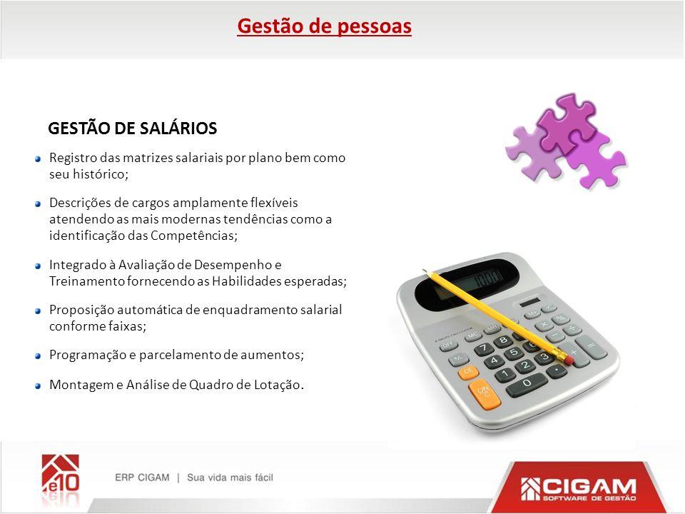GESTÃO DE SALÁRIOS Registro das matrizes salariais por plano bem como seu histórico; Descrições de cargos amplamente flexíveis atendendo as mais moder