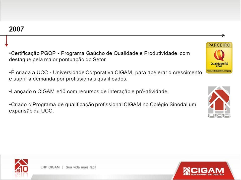 2007 Certificação PGQP - Programa Gaúcho de Qualidade e Produtividade, com destaque pela maior pontuação do Setor. É criada a UCC - Universidade Corpo