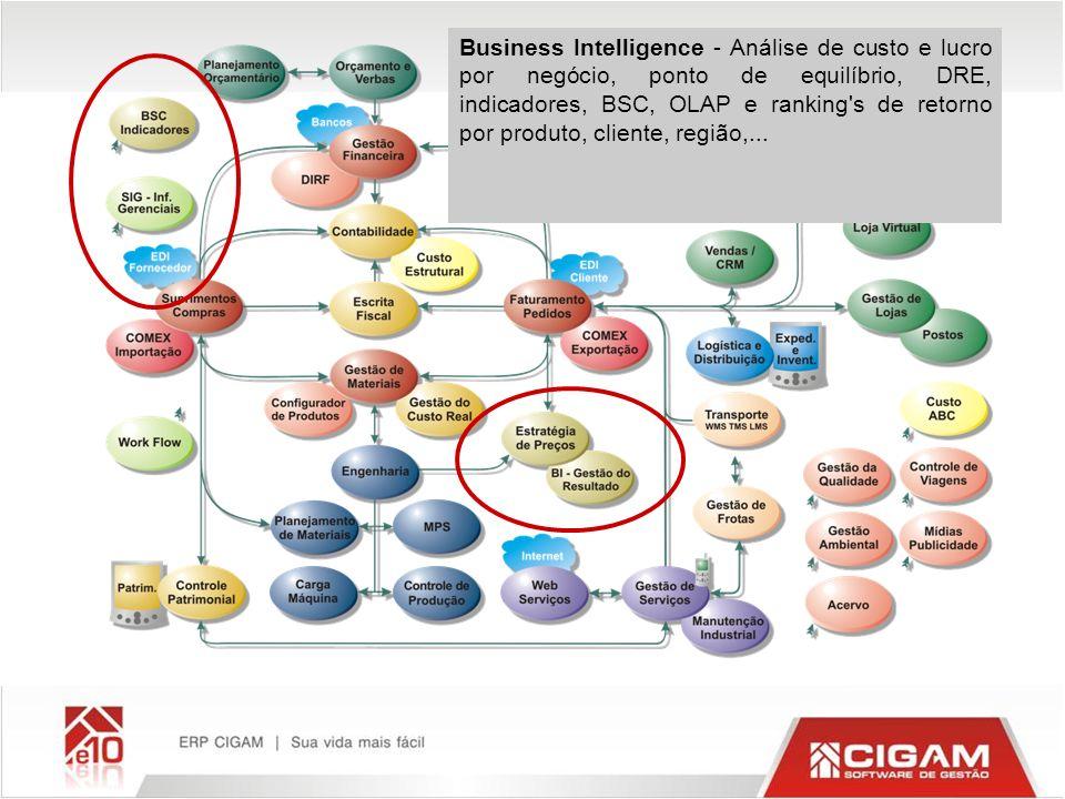 Business Intelligence - Análise de custo e lucro por negócio, ponto de equilíbrio, DRE, indicadores, BSC, OLAP e ranking's de retorno por produto, cli