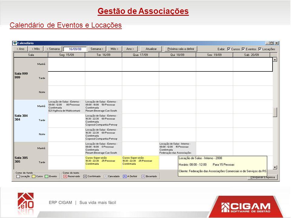 Gestão de Associações Calendário de Eventos e Locações