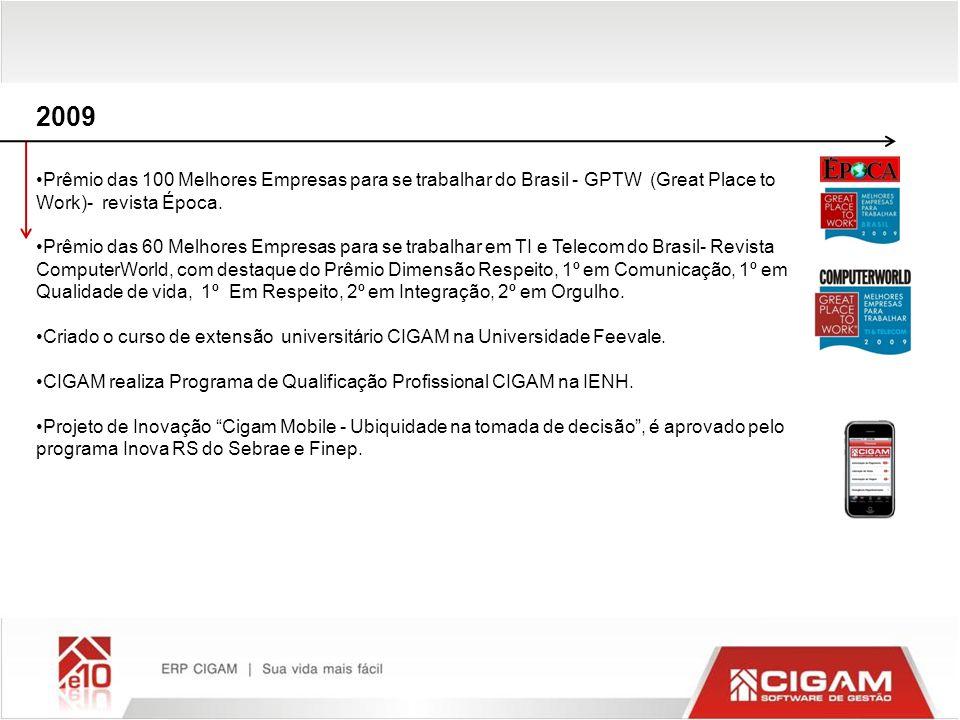 2009 Prêmio das 100 Melhores Empresas para se trabalhar do Brasil - GPTW (Great Place to Work)- revista Época. Prêmio das 60 Melhores Empresas para se