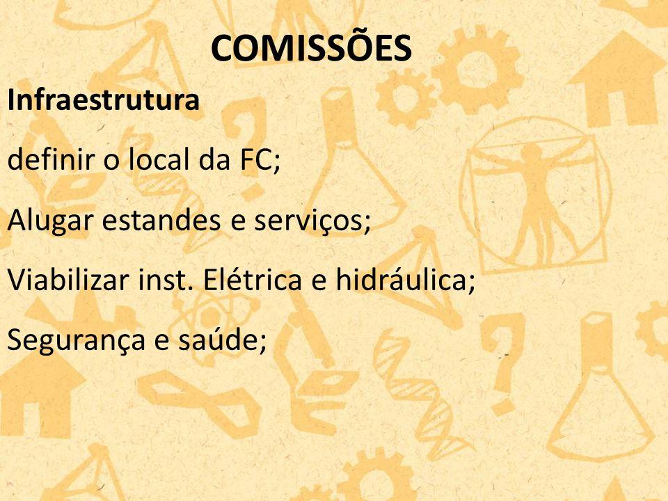 Infraestrutura definir o local da FC; Alugar estandes e serviços; Viabilizar inst.