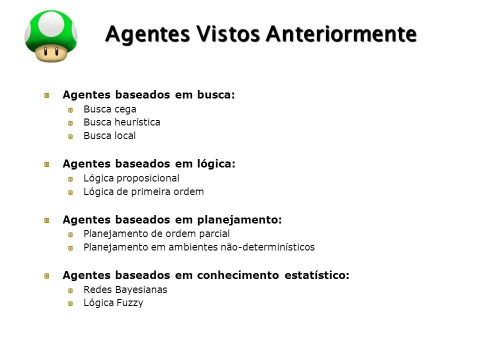 LOGO Agentes Vistos Anteriormente Agentes baseados em busca: Busca cega Busca heurística Busca local Agentes baseados em lógica: Lógica proposicional