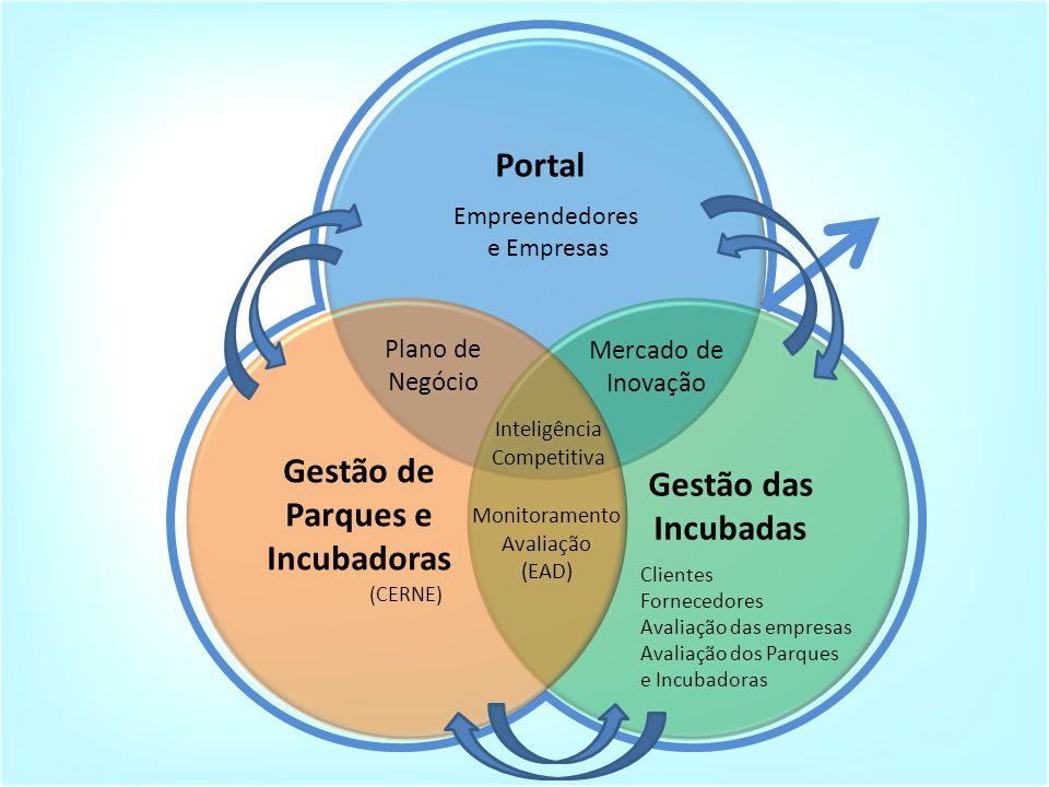 Empreendedores e Empresas Clientes Fornecedores Avaliação das empresas Avaliação dos Parques e Incubadoras (CERNE) Portal Gestão das Incubadas Gestão