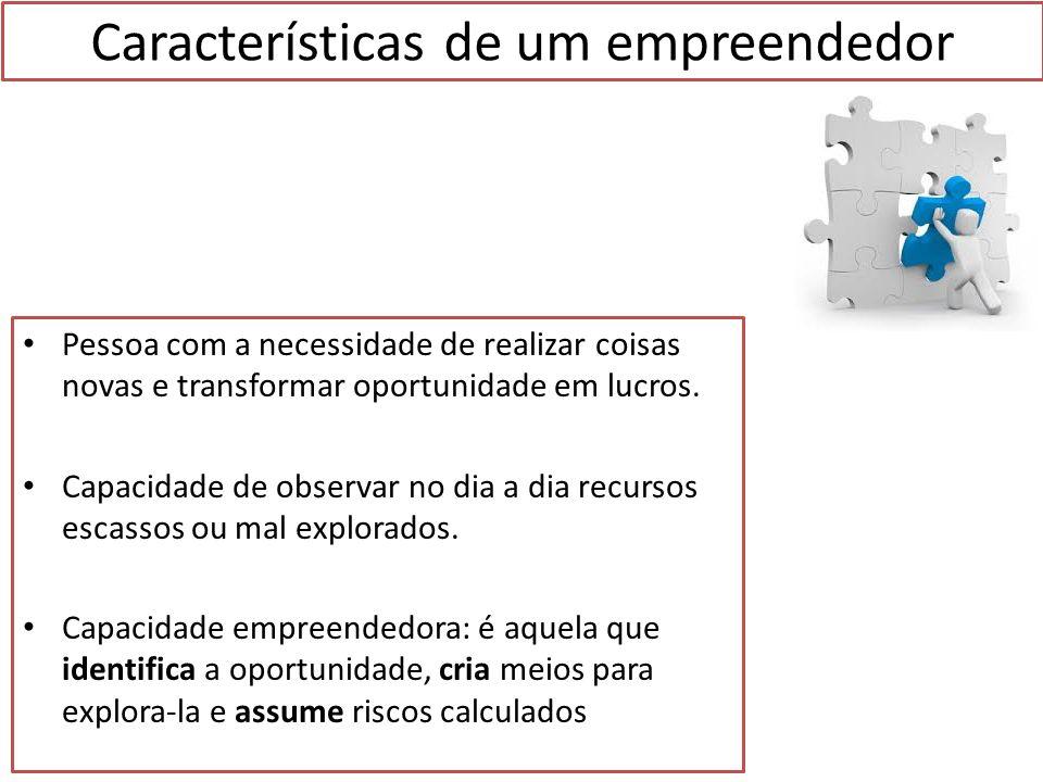 Características de um empreendedor 1.Busca de oportunidade e iniciativa Saber identificar uma boa oportunidade de negócios para oferecer produtos/serviços 2.