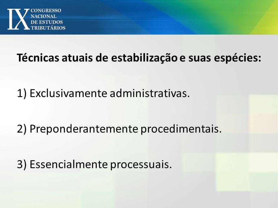 Técnicas atuais de estabilização e suas espécies: 1) Exclusivamente administrativas.