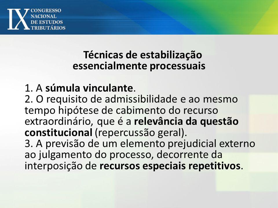 Técnicas de estabilização essencialmente processuais 1.