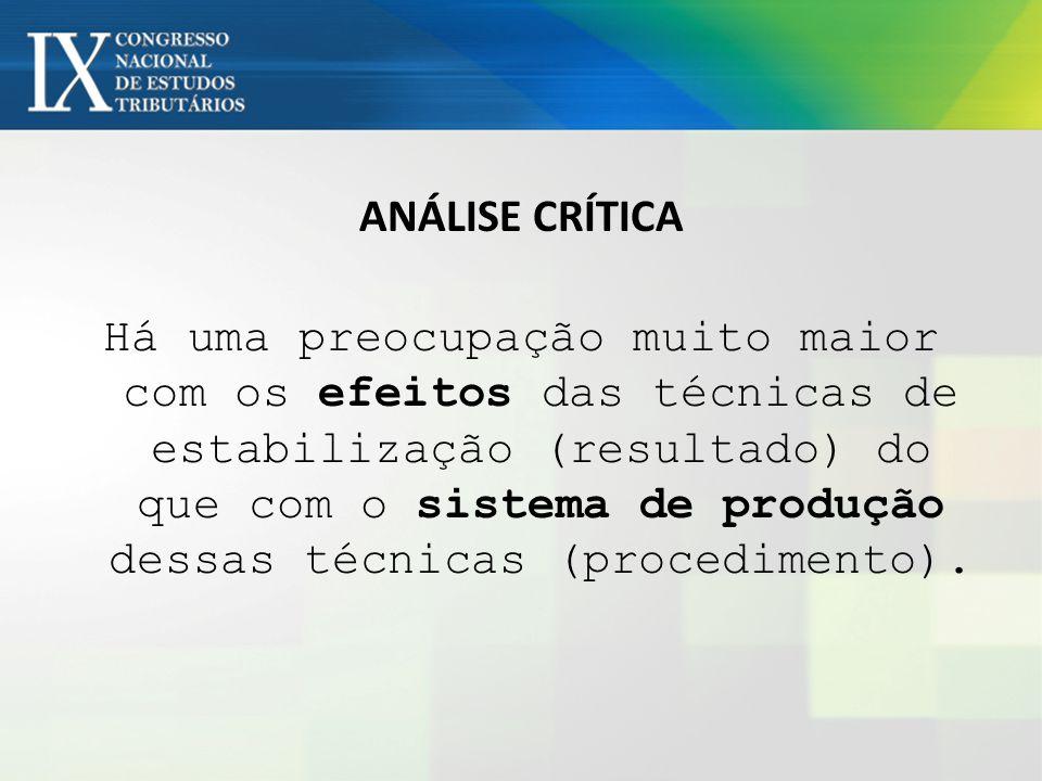 ANÁLISE CRÍTICA Há uma preocupação muito maior com os efeitos das técnicas de estabilização (resultado) do que com o sistema de produção dessas técnicas (procedimento).