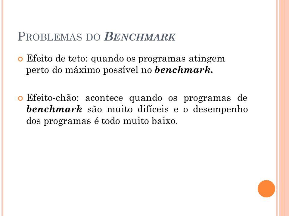 P ROBLEMAS DO B ENCHMARK Efeito de teto: quando os programas atingem perto do máximo possível no benchmark. Efeito-chão: acontece quando os programas