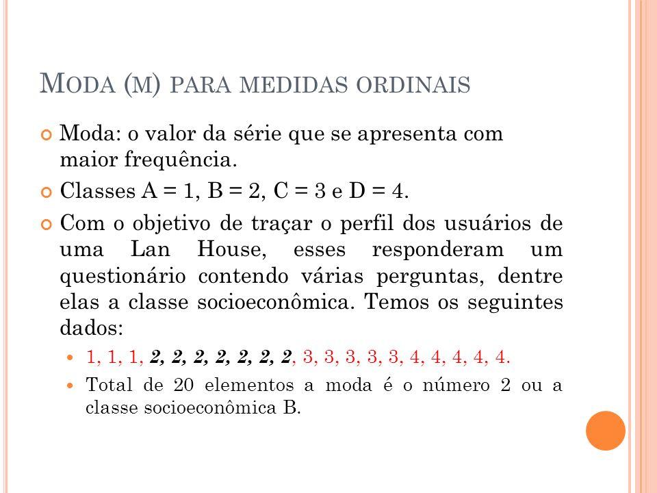 M ODA ( M ) PARA MEDIDAS ORDINAIS Moda: o valor da série que se apresenta com maior frequência. Classes A = 1, B = 2, C = 3 e D = 4. Com o objetivo de