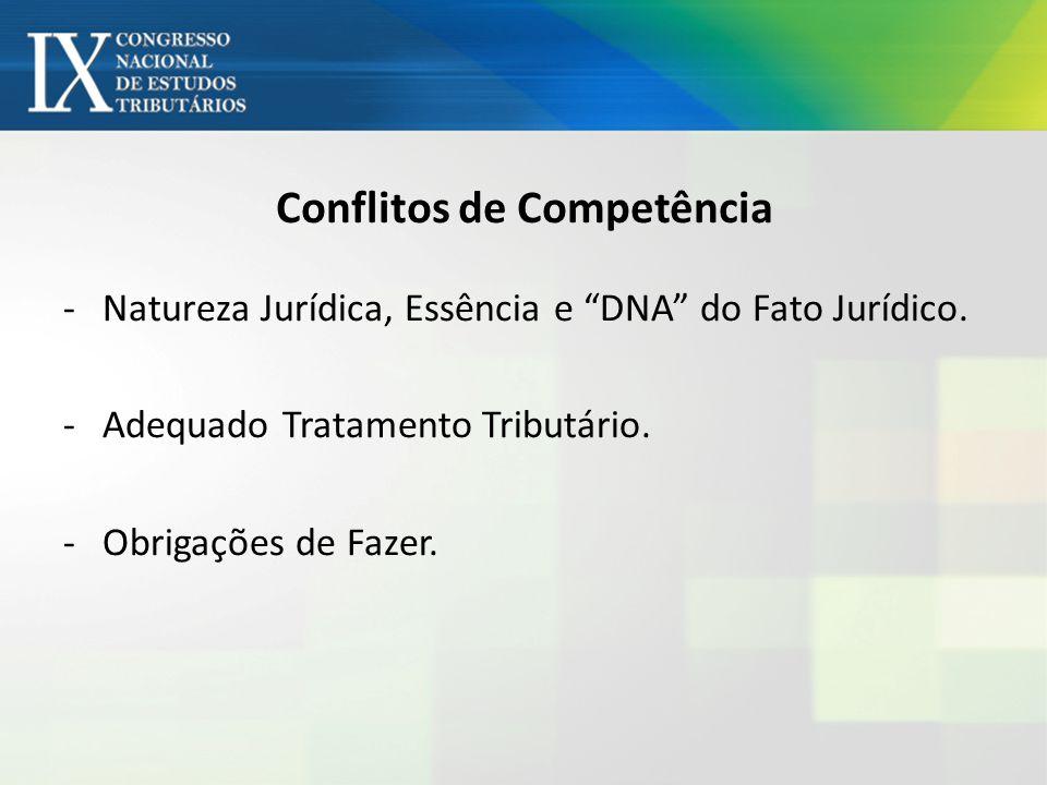 Conflitos de Competência -Natureza Jurídica, Essência e DNA do Fato Jurídico. -Adequado Tratamento Tributário. -Obrigações de Fazer.