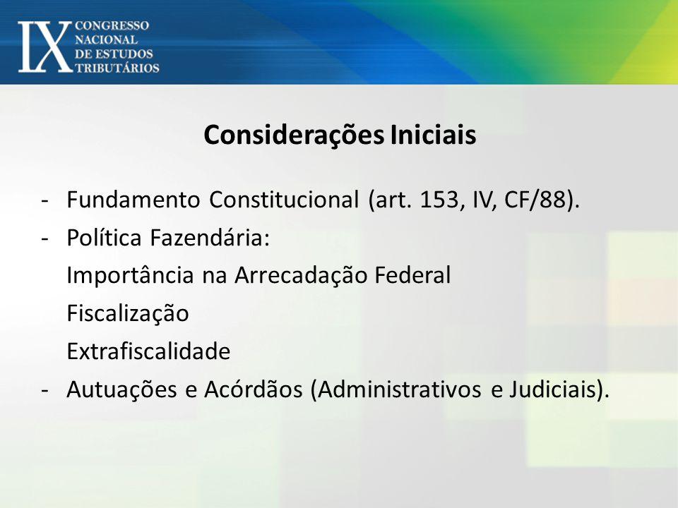Considerações Iniciais -Fundamento Constitucional (art. 153, IV, CF/88). -Política Fazendária: Importância na Arrecadação Federal Fiscalização Extrafi
