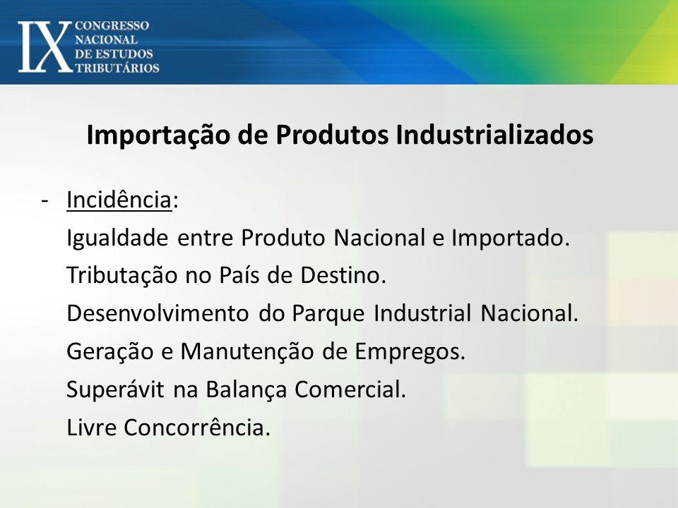 Importação de Produtos Industrializados -Incidência: Igualdade entre Produto Nacional e Importado. Tributação no País de Destino. Desenvolvimento do P
