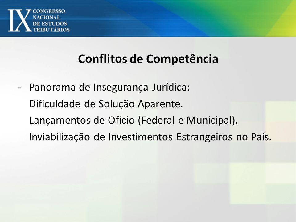Conflitos de Competência -Panorama de Insegurança Jurídica: Dificuldade de Solução Aparente. Lançamentos de Ofício (Federal e Municipal). Inviabilizaç