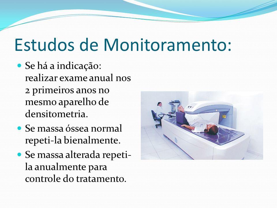 Estudos de Monitoramento: Se há a indicação: realizar exame anual nos 2 primeiros anos no mesmo aparelho de densitometria. Se massa óssea normal repet