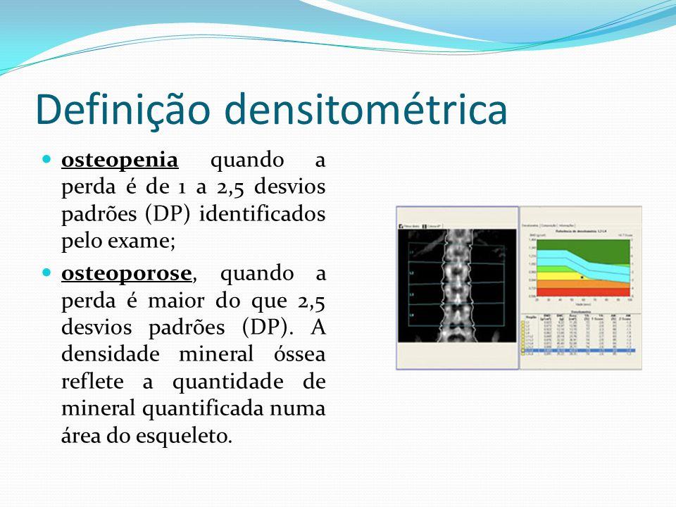 Definição densitométrica osteopenia quando a perda é de 1 a 2,5 desvios padrões (DP) identificados pelo exame; osteoporose, quando a perda é maior do que 2,5 desvios padrões (DP).