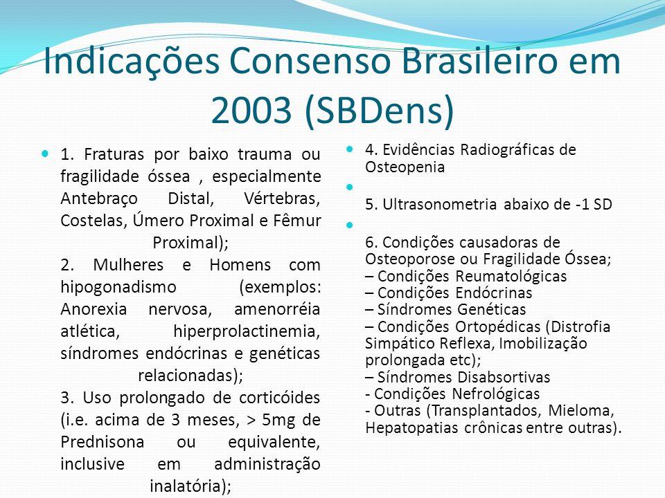 Indicações Consenso Brasileiro em 2003 (SBDens) 1. Fraturas por baixo trauma ou fragilidade óssea, especialmente Antebraço Distal, Vértebras, Costelas