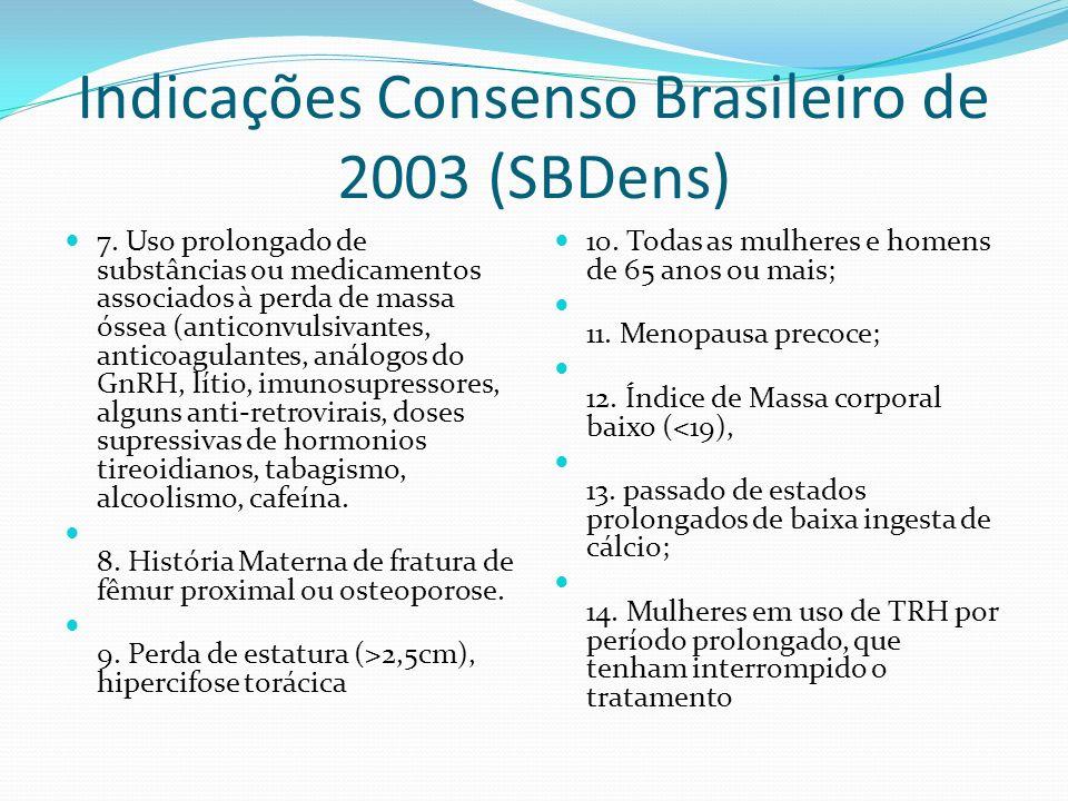 Indicações Consenso Brasileiro de 2003 (SBDens) 7. Uso prolongado de substâncias ou medicamentos associados à perda de massa óssea (anticonvulsivantes