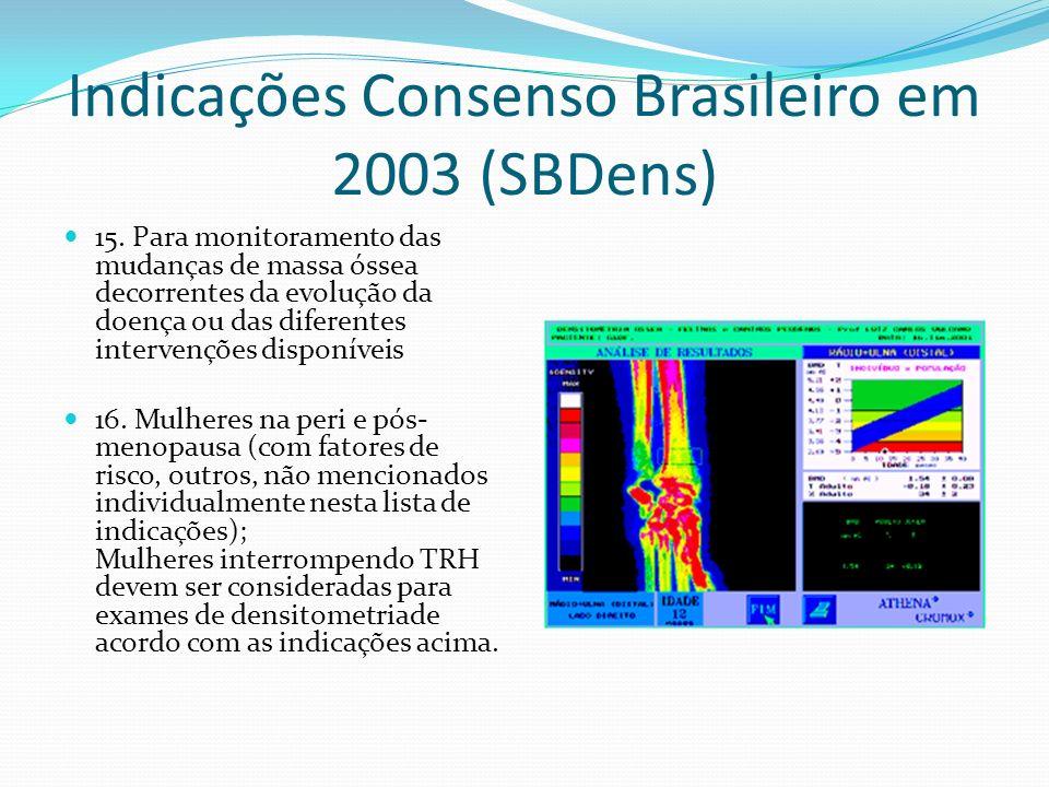 Indicações Consenso Brasileiro em 2003 (SBDens) 15. Para monitoramento das mudanças de massa óssea decorrentes da evolução da doença ou das diferentes