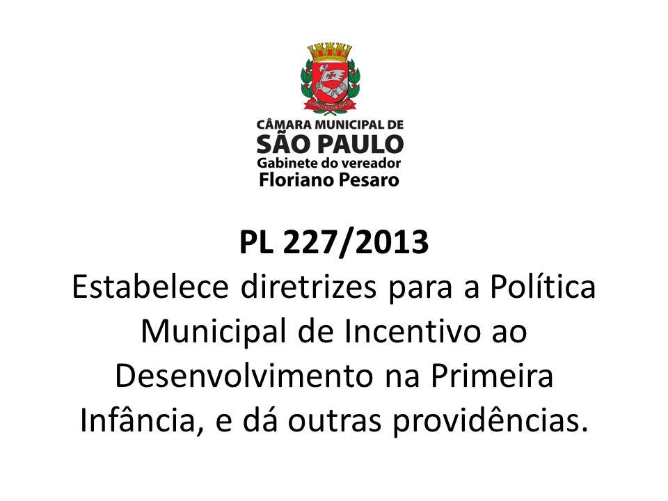 PL 227/2013 Estabelece diretrizes para a Política Municipal de Incentivo ao Desenvolvimento na Primeira Infância, e dá outras providências.