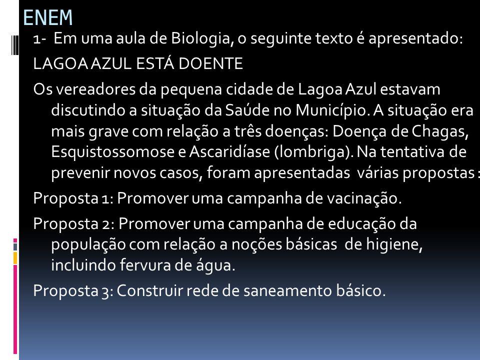 ENEM 1- Em uma aula de Biologia, o seguinte texto é apresentado: LAGOA AZUL ESTÁ DOENTE Os vereadores da pequena cidade de Lagoa Azul estavam discutin