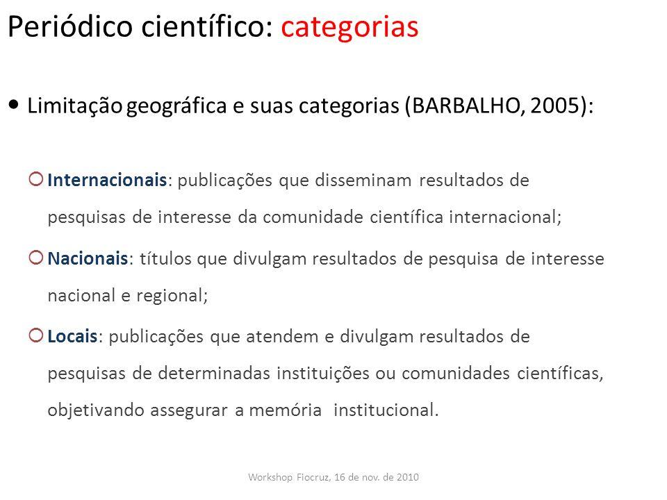 Periódico científico: categorias Workshop Fiocruz, 16 de nov. de 2010 Limitação geográfica e suas categorias (BARBALHO, 2005): Internacionais: publica