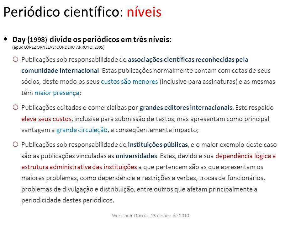 Periódico científico: níveis Workshop Fiocruz, 16 de nov. de 2010 Day ( 1998) divide os periódicos em três níveis: (apud LÓPEZ ORNELAS; CORDERO ARROYO
