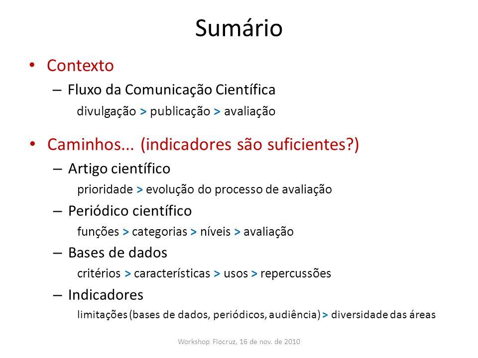 Sumário Contexto – Fluxo da Comunicação Científica divulgação > publicação > avaliação Workshop Fiocruz, 16 de nov. de 2010 Caminhos... (indicadores s