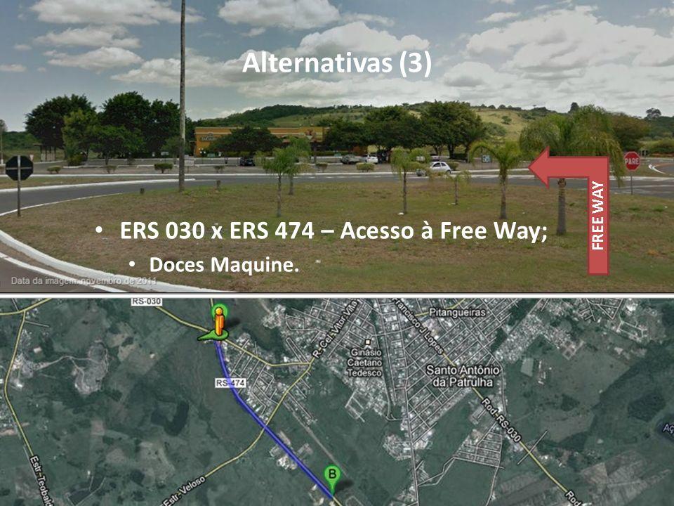Alternativas (3) ERS 030 x ERS 474 – Acesso à Free Way; Doces Maquine. FREE WAY