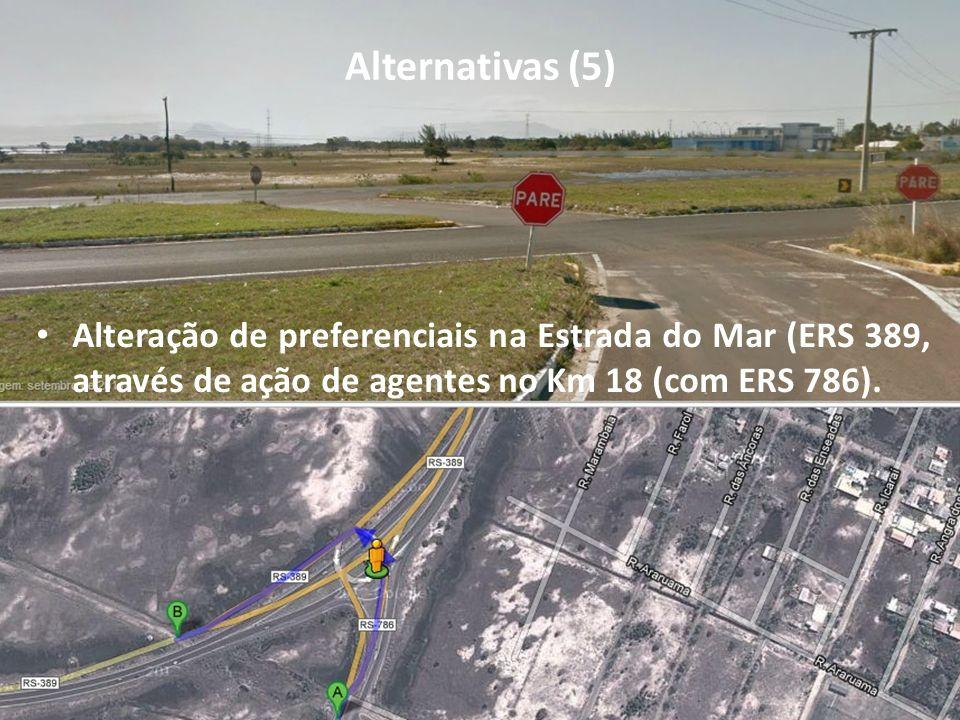 Alternativas (5) Alteração de preferenciais na Estrada do Mar (ERS 389, através de ação de agentes no Km 18 (com ERS 786).