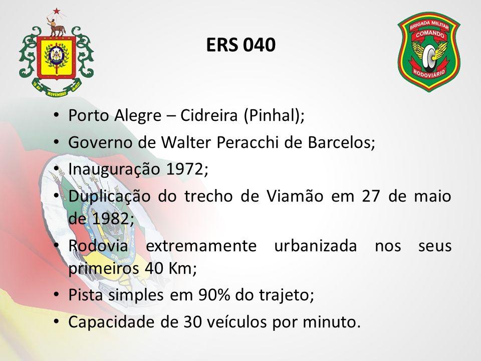 ERS 040 Porto Alegre – Cidreira (Pinhal); Governo de Walter Peracchi de Barcelos; Inauguração 1972; Duplicação do trecho de Viamão em 27 de maio de 1982; Rodovia extremamente urbanizada nos seus primeiros 40 Km; Pista simples em 90% do trajeto; Capacidade de 30 veículos por minuto.