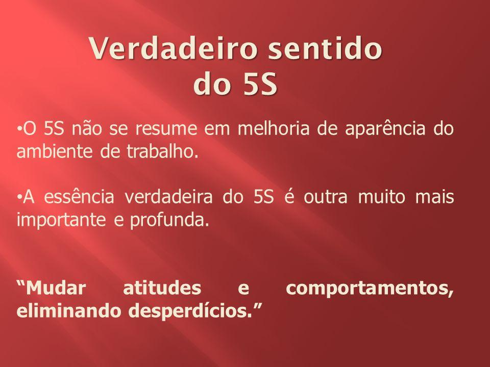 Verdadeiro sentido do 5S O 5S não se resume em melhoria de aparência do ambiente de trabalho. A essência verdadeira do 5S é outra muito mais important