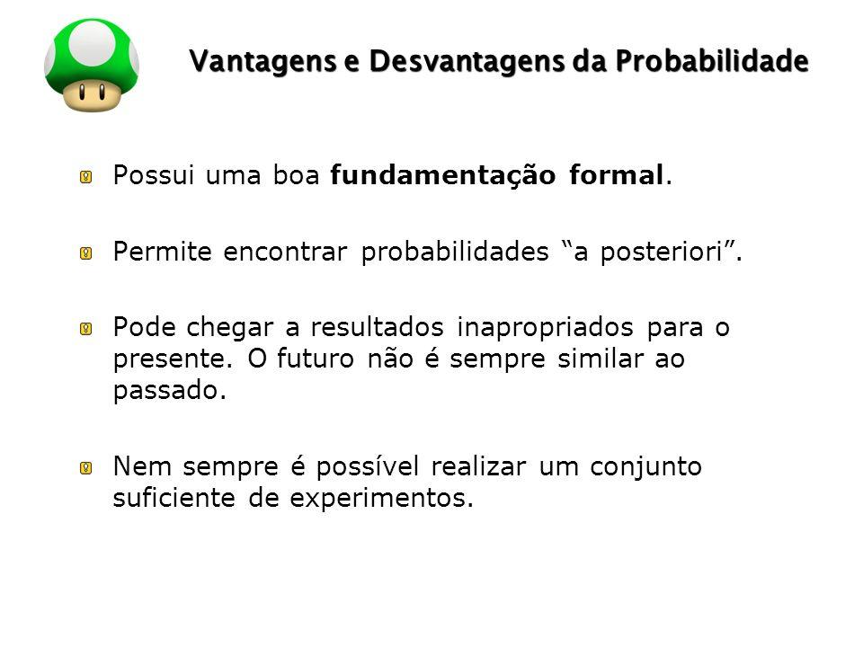 LOGO Vantagens e Desvantagens da Probabilidade Possui uma boa fundamentação formal. Permite encontrar probabilidades a posteriori. Pode chegar a resul