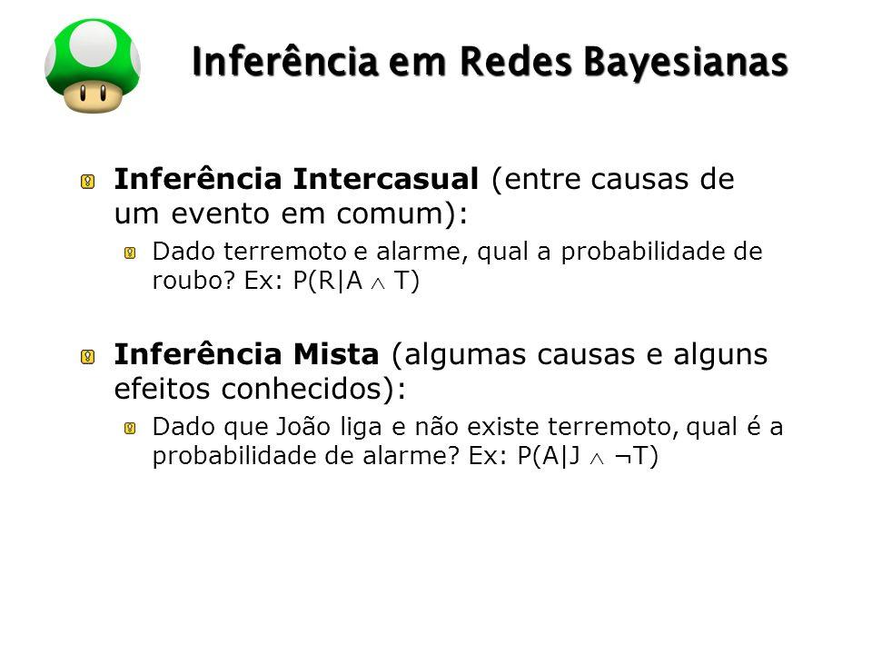 LOGO Inferência em Redes Bayesianas Inferência Intercasual (entre causas de um evento em comum): Dado terremoto e alarme, qual a probabilidade de roub