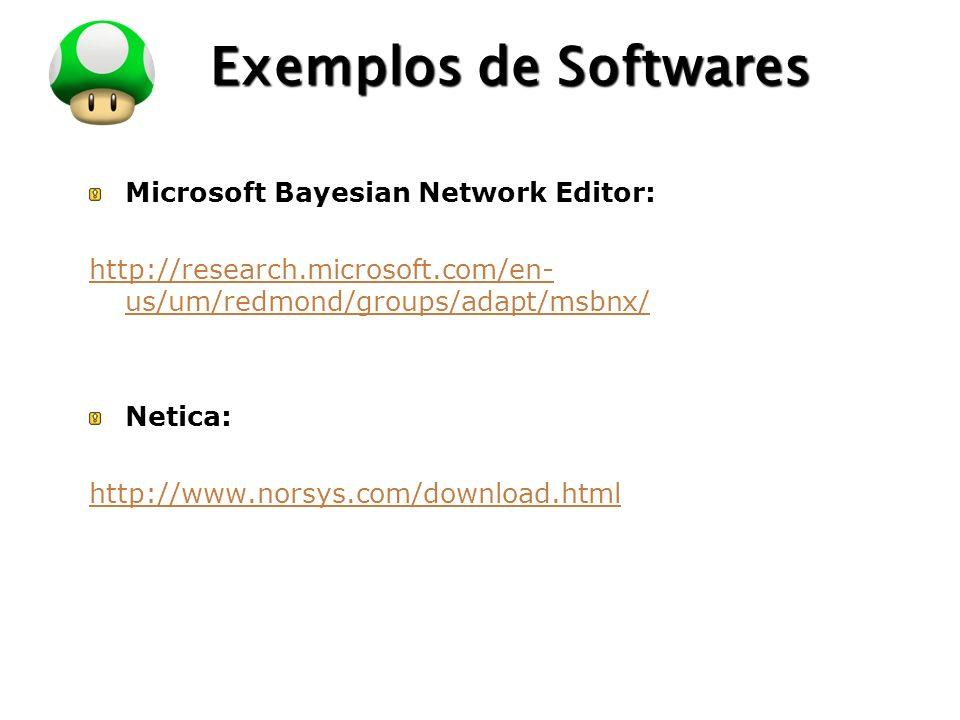 LOGO Exemplos de Softwares Microsoft Bayesian Network Editor: http://research.microsoft.com/en- us/um/redmond/groups/adapt/msbnx/ Netica: http://www.n