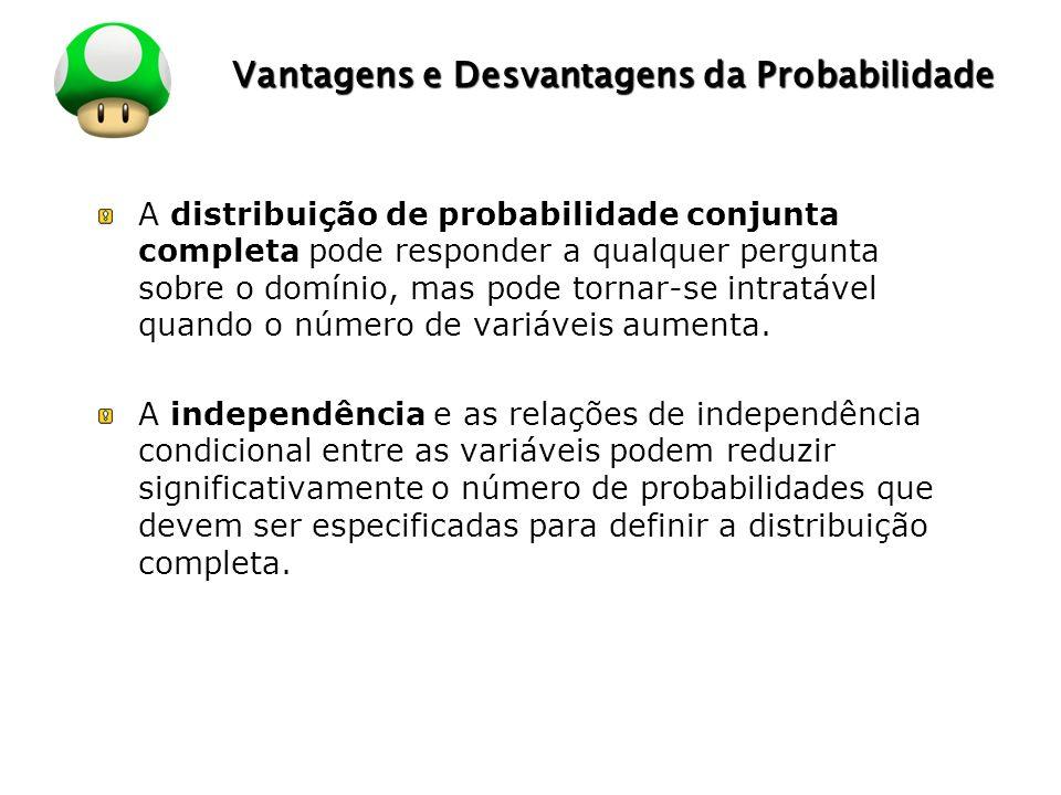 LOGO Vantagens e Desvantagens da Probabilidade A distribuição de probabilidade conjunta completa pode responder a qualquer pergunta sobre o domínio, m