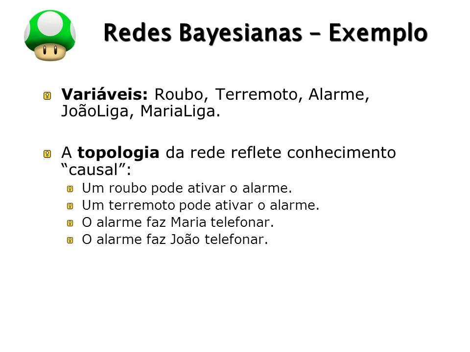 LOGO Redes Bayesianas – Exemplo Variáveis: Roubo, Terremoto, Alarme, JoãoLiga, MariaLiga. A topologia da rede reflete conhecimento causal: Um roubo po