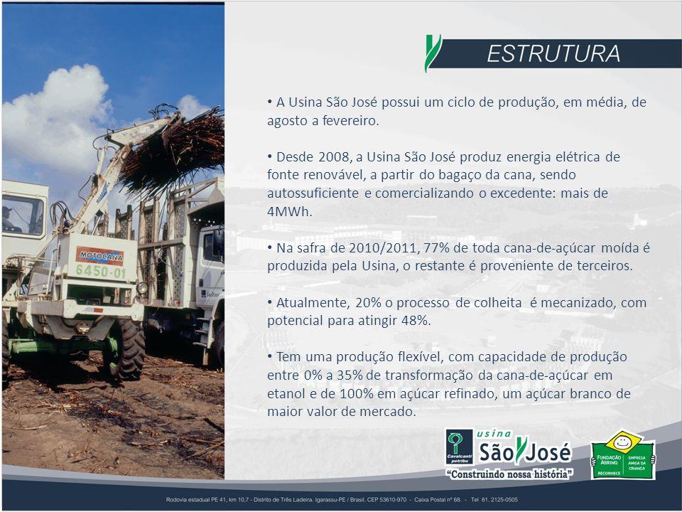 A Usina São José possui um ciclo de produção, em média, de agosto a fevereiro.