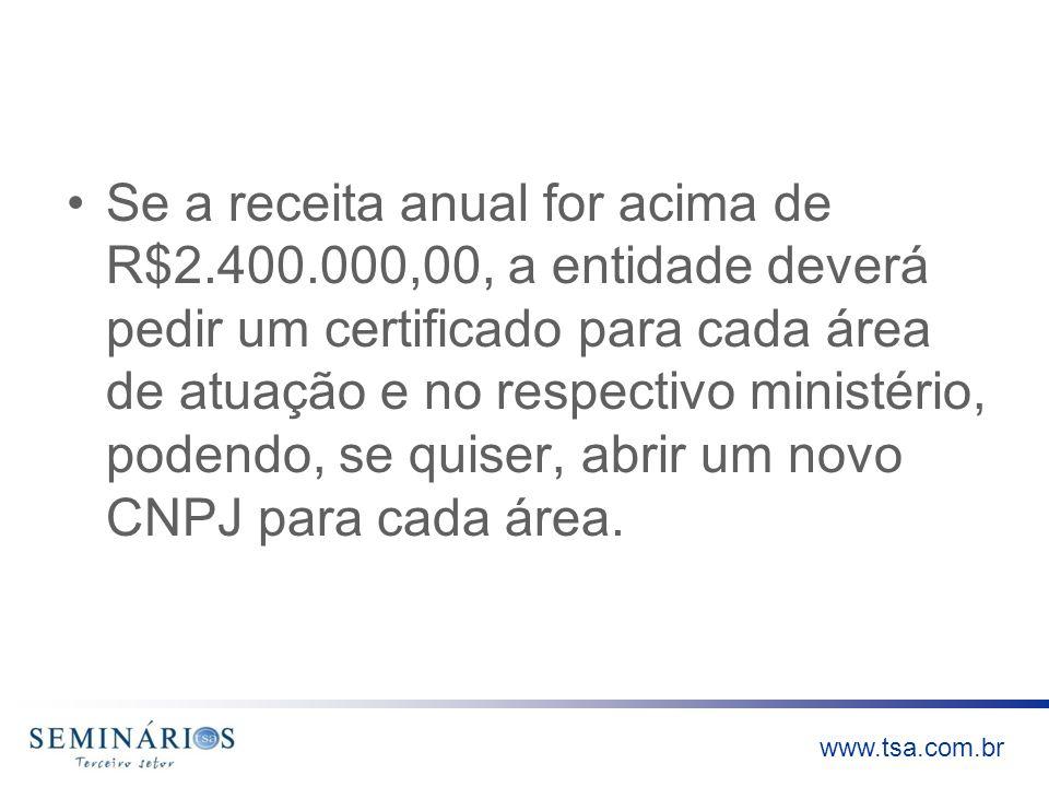 www.tsa.com.br Se a receita anual for acima de R$2.400.000,00, a entidade deverá pedir um certificado para cada área de atuação e no respectivo minist