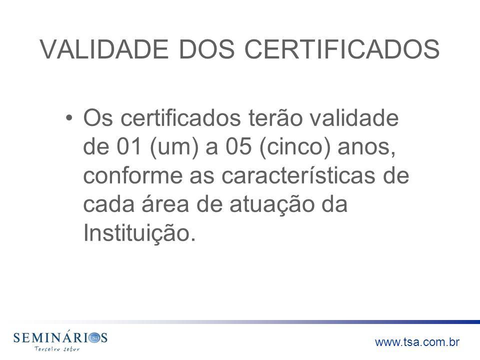 www.tsa.com.br VALIDADE DOS CERTIFICADOS Os certificados terão validade de 01 (um) a 05 (cinco) anos, conforme as características de cada área de atua