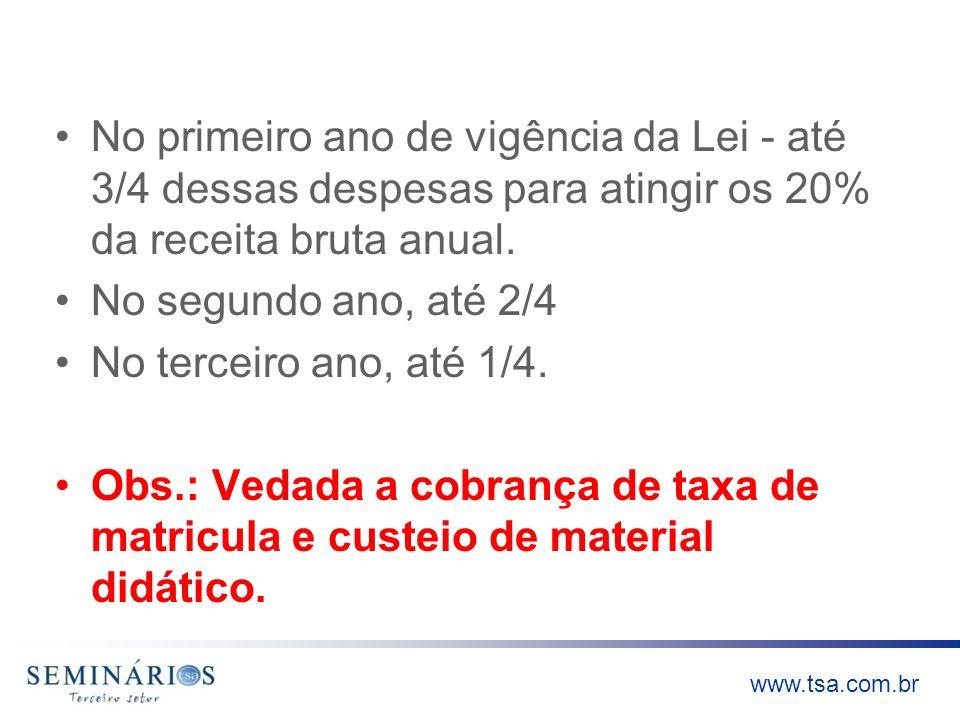 www.tsa.com.br No primeiro ano de vigência da Lei - até 3/4 dessas despesas para atingir os 20% da receita bruta anual. No segundo ano, até 2/4 No ter