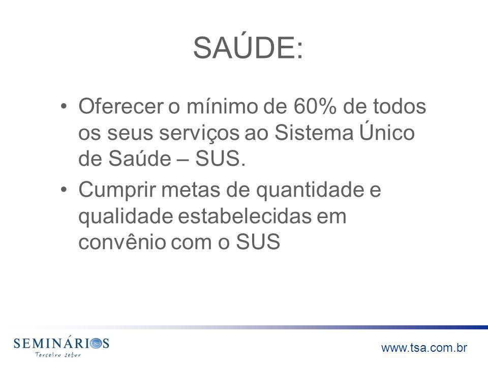 www.tsa.com.br SAÚDE: Oferecer o mínimo de 60% de todos os seus serviços ao Sistema Único de Saúde – SUS. Cumprir metas de quantidade e qualidade esta